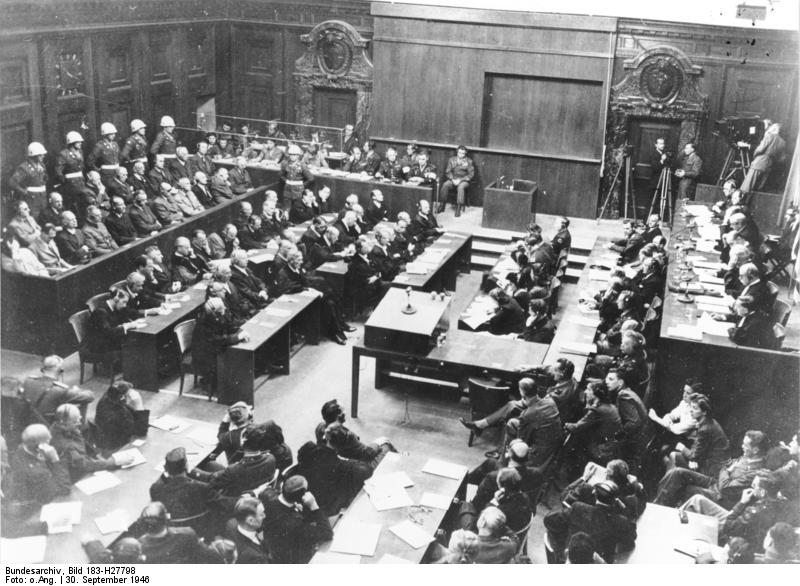 Bundesarchiv Bild 183 H27798 Nürnberger Prozess Verhandlungssaal - Entstehung des Internationalen Strafgerichtshofs